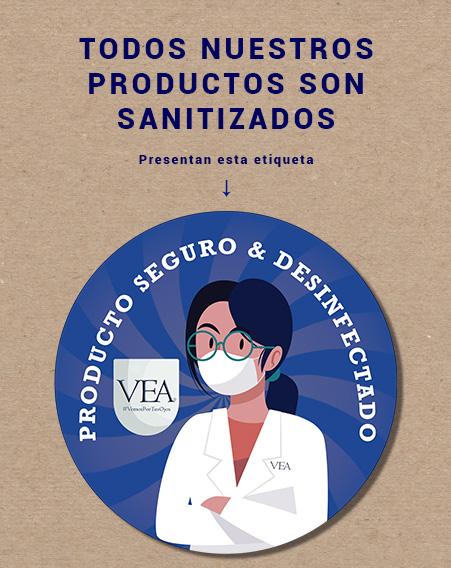 Etiqueta de producto seguro y desinfectado - VEA Servicios